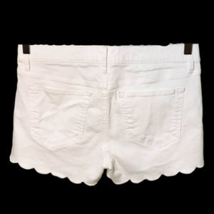 LOFT Shorts - LOFT White Scallop Hem Denim Shorts